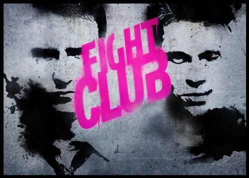 1990's Movie - FIGHT CLUB GRAFFITI PINK canvas print - self adhesive poster - photo print